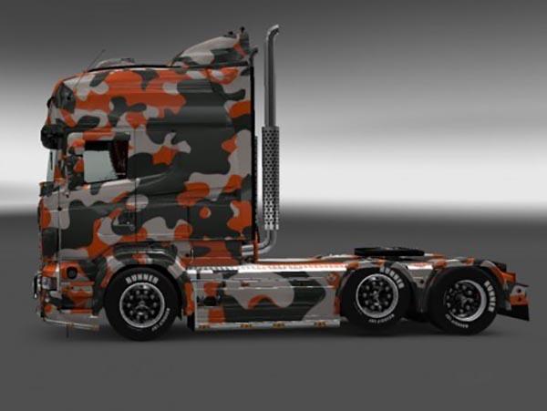 Scania RJL R Orange Camouflage Skin