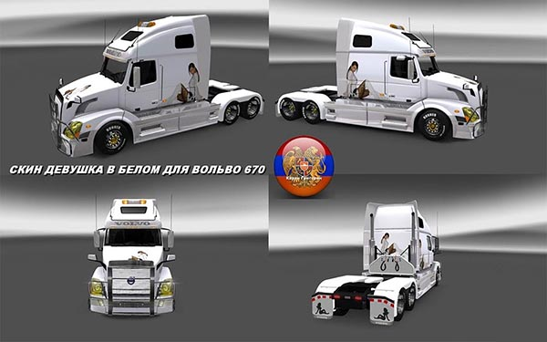 Volvo VNL 670 Girl In White Skin