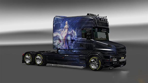 Skin the Girl on the wolf for Scania T Longline
