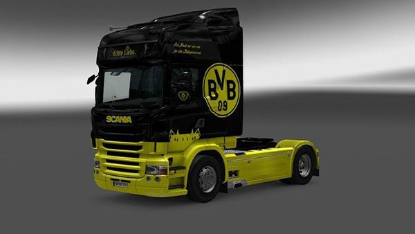 Scania RJL Borussia Dortmund Interior + Skin V 1.24
